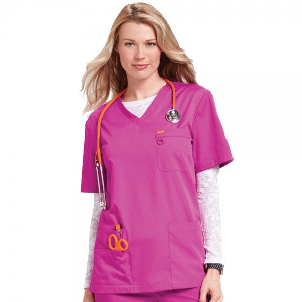Orange Standard Unisex Balboa Top in Fierce Fuchsia. The Orange Standard Unisex Balboa Top is designed to be worn by men and women. It comes in a variety of colours and sizes to cater for all tastes in your department. This scrub top has multi-compartment pocket details and a small D-ring on the chest pocket for your ID badge.  £16.99  #nursescrubs #dentistuniform #nurses #dentists #pinkscrubs #nurseuniform