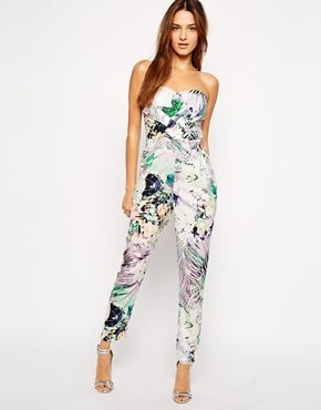Lipsy Bandeau Jumpsuit in Palm Print