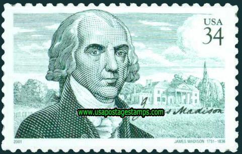 Commemorative Stamp | Commemorative Stamps: 250th Birth Anniv of James Madison 34c. 2001