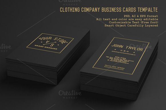 Clothing Company Business Cards by Rooms Design Shop on Creative Market