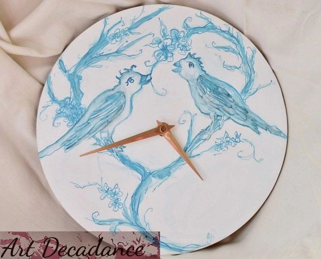 Love birds hand-painted wall clock, turquoise-blue white, Valentines wedding gift, Wood clock, Hand painted art, Circle Wall Clock, Non-tick by ArtDecadance on Etsy