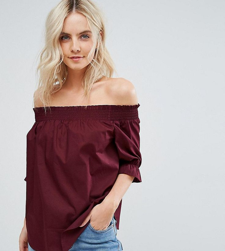 Get this New Look Petite's top off shoulder now! Click for more details. Worldwide shipping. New Look Petite Ruched Bardot Top - Red: Petite top by New Look Petite, Lightweight crisp cotton, Bardot neck, Shirred stretch trim, Flared cuffs, Regular fit - true to size, Machine wash, 100% Cotton, Our model wears a UK 8/EU 36/US 4 and is 163cm/5'4 tall. High Street heroes New Look introduce New Look Petite ; a trend-led hit of fast fashion in whittled down sizes perfect for smaller frames. Midi…