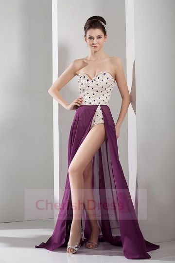 Sweep/Brush Train Sweetheart A-line Dress with Side Draping Pearl Detailing - OCCASION DRESSES