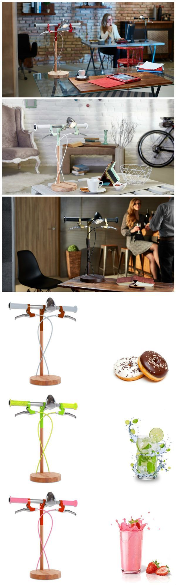 #Bike, #DeskLamp, #Lamps Industrial Kid's bicycle-inspired, contemporary design lamps offer the customers the freedom of choice by participating in the creative process. Desk lamps made from bicycle parts combined with the soft touch of wood create a special atmosphere at h