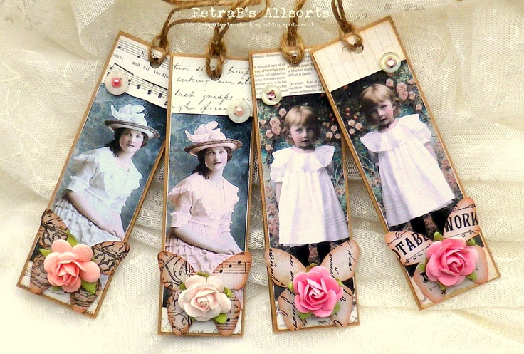 Lady Tags. images: PaperWhimsy, Mulberry flowers - vintage buttons, half-pearls - patterend paper: Prima Marketing