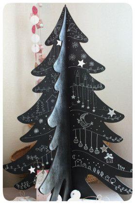 sapin en bois et peinture noire ou ardoise. Well I don't read that language, but this is a cute idea.