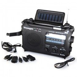 A solar powered radio that has adapters for phones, walkie talkies and maybe even an iPad! haha