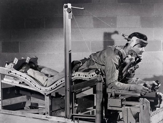 Prone position pilot bed that was designed in an attempt to lessen pilot fatigue and ease the effects of gravitational forces. 1949.