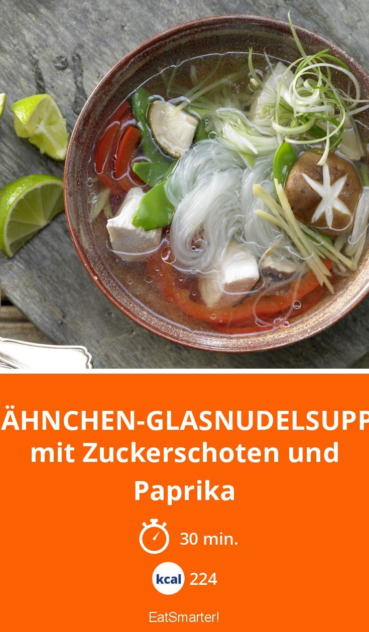 Hähnchen-Glasnudelsuppe - mit Zuckerschoten und Paprika - smarter - Kalorien: 224 kcal - Zeit: 30 Min. | eatsmarter.de