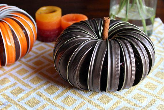DIY Pumpkin Jar Lid Kit with Twine Fall Wedding by BakersBlingShop