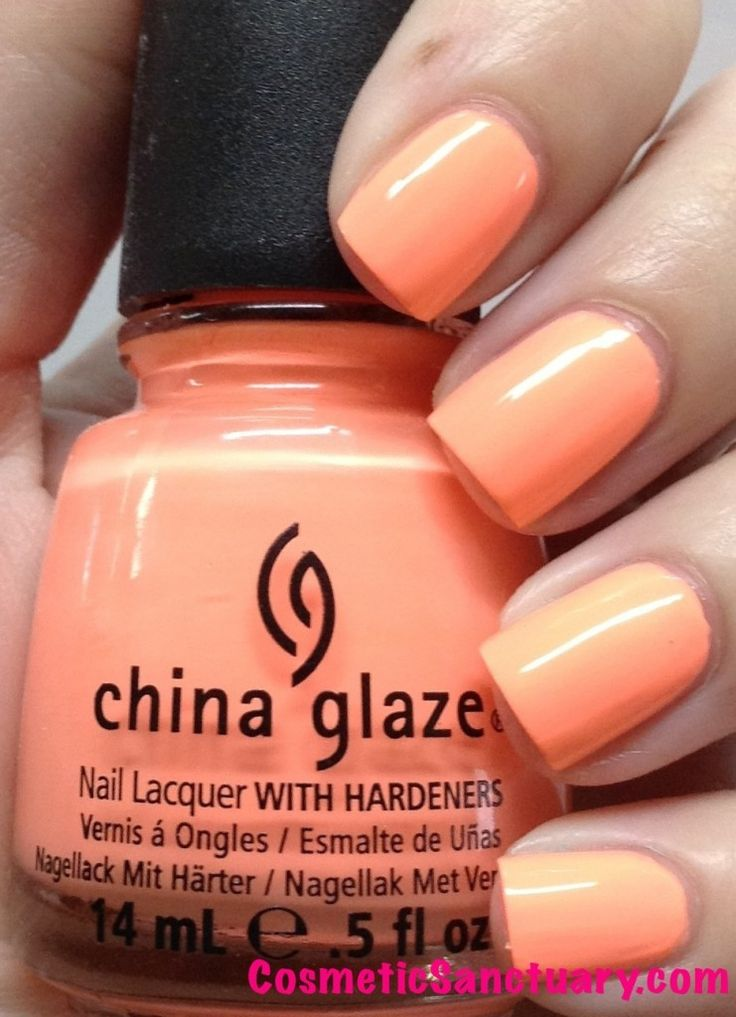 China Glaze Sunsational Collection Swatches // Sun of a Peach is a bright peach color.  I had the most trouble with application on this one, after 3 coats (which is pictured) I still had minor streaks. - See more at: http://www.cosmeticsanctuary.com/category/nail-polish/page/2/#sthash.Jhzi4srg.dpuf