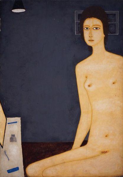 """Jerzy Nowosielski, """"Akt - toaleta z lampą"""", 1973, farba polimerowa, fot. dzięki uprzejmości Muzeum Okręgowemu w Bydgoszczy"""