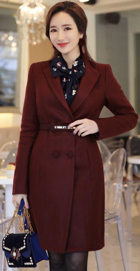 StyleOnme_Gold Belt Set Double-Breasted Wool Blend Coat #chic #coat #wool #koreanfashion#kstyle #kfashion #feminine #wintertrend