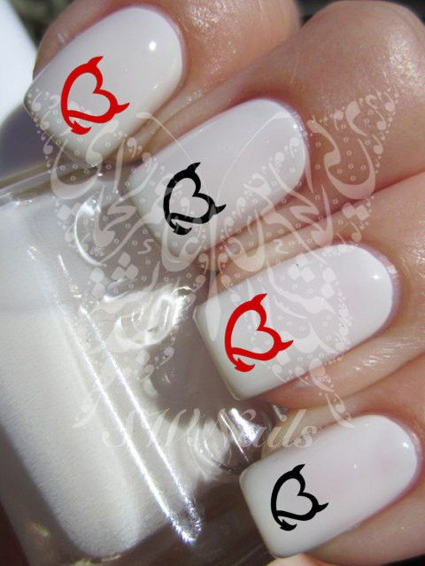 Nail Art Devil Hearts Nail Water Decals Transfers Wraps