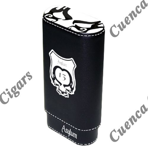 Shop Now Asylum 13 Super Size Leather Cigar Case - White and Black | Cuenca Cigars  Sales Price:  $44.99