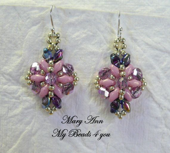 Seed Bead Jewelry Tutorials | PDF Tutorial Beadwoven Earrings SuperDuo Tutorial by mybeads4you