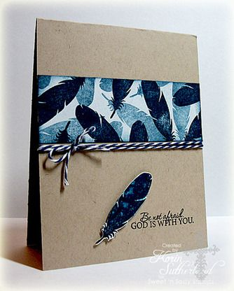 handmade card ... Nature Silhouettes 2 Clear Stamp Set  kraft base card ... band of stamped feathers in blues ... navy and white baker's twine wrap .. great look for a masculine card ... Sweet 'n Sassy Stamps