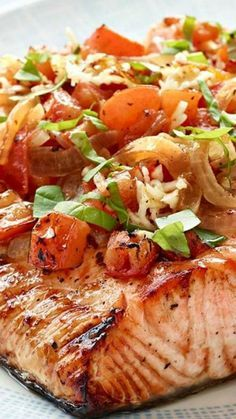 Perfect Grilled Bruschetta Salmon ~ In this Healthy Living recipe, chopped tomatoes, garlic and basil top a perfectly grilled salmon fillet.