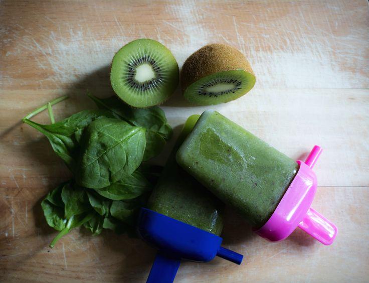 spinach-kiwi ice pop (homemade popsicles): http://kristenyarker.com/blog/5th-annual-homemade-ice-pop-recipes