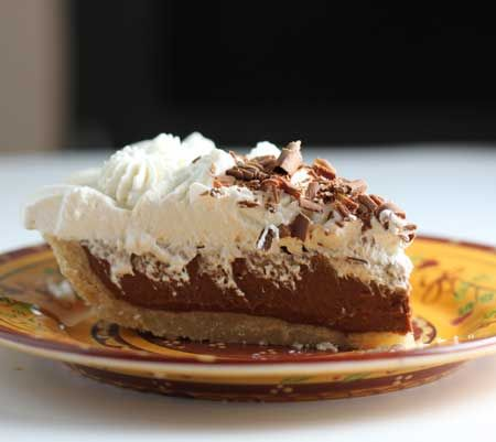 Perfect Choclate Pie - perfected the amount of egg yolks, cornstarch and chocolate to make the perfect balance of smoothness, sturdiness and chocolate flavor .Also, the pie slices beautifully