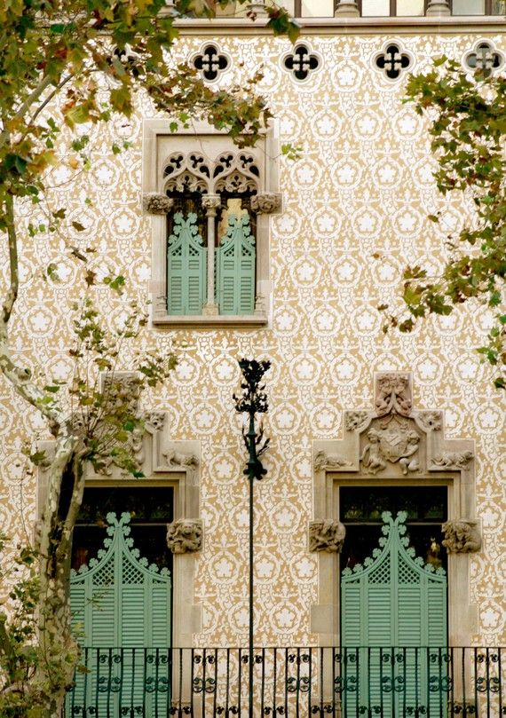 barcelonaFacades, The Doors, Green Doors, Green Shutters, Colors, Windows, Places, Architecture, Barcelona Spain