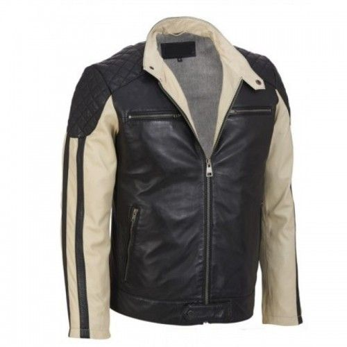 Leather Rider Men's Two Tone Motorcycle Leather Jacket