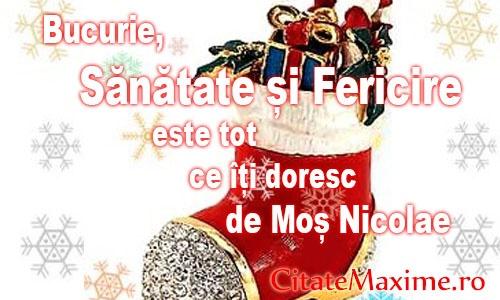 """""""Bucurie, Sanatate si Fericire este tot ce iti doresc de Mos Nicolae""""  Iti place acest #citat? ♥Like♥ si ♥Share♥ cu prietenii tai.  #CitateImagini: #Fericire #Bucurie #UrareDeMosNicolae #DeMosNicolae #Sanatate  #romania #quotes  Vezi mai multe #citate pe http://citatemaxime.ro/"""