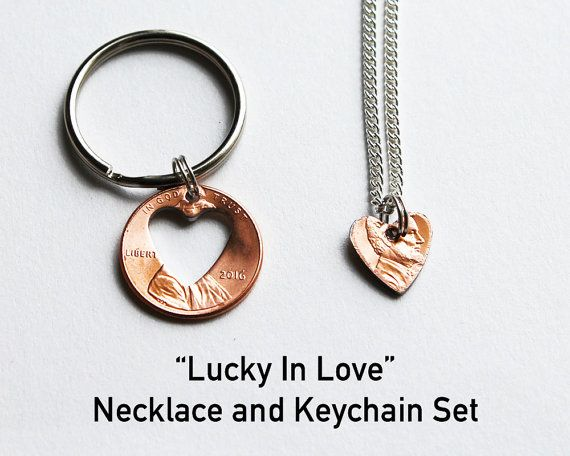 LUCKY IN LOVE. Couples Gift Set. Penny Keychain.Penny Necklace. Anniversary Gift. Wedding Gift. Husband/Wife. Girlfriend/Boyfriend Gift.