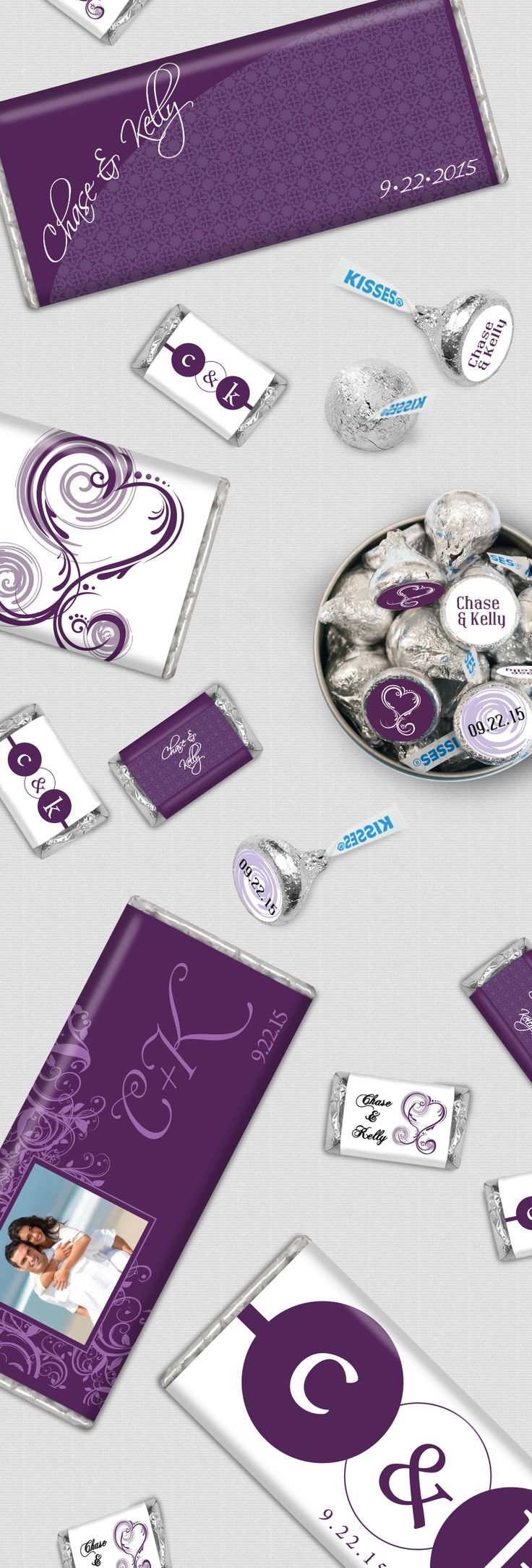 Eggplant Wedding Favor Ideas for Candy Buffet - Personalized Chocolate Bars and Candy Stickers in Purple + White + Silver