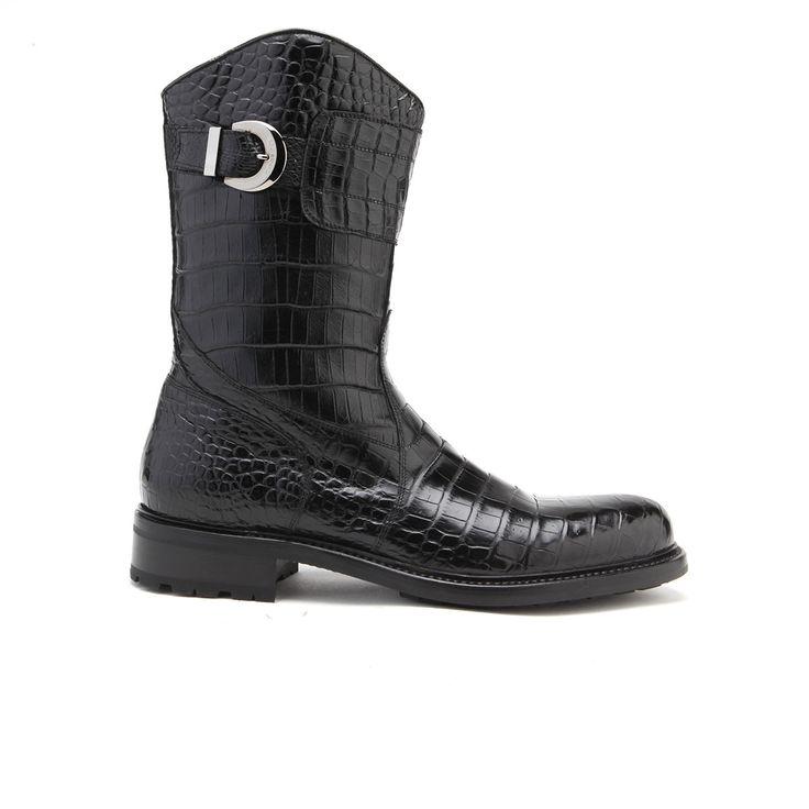 Caporicci Italian Mens Shoes Black Alligator Boots ART573 (CAP1024)