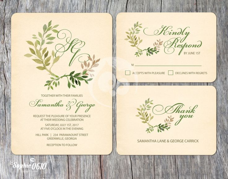 If you love vintage essence monograms in wedding just click for more www.sophie0610designs.etsy.com  Printable vintage ivory wedding invitation with green leaves and monogram, Digital files by Sophie0610Designs on Etsy