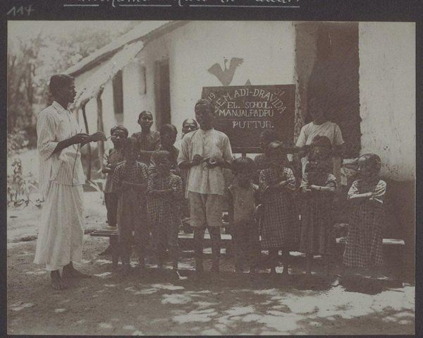 "1904 image of an ""Adi Dravida"" School at Manjalpadpu, Puttur #Karnataka (Basel Mission Archives)"