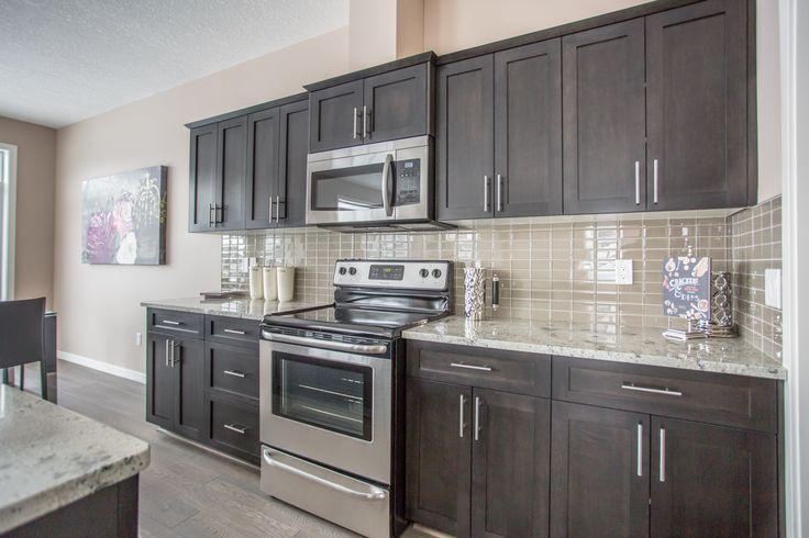 Beautiful dark cabinets #kitchen