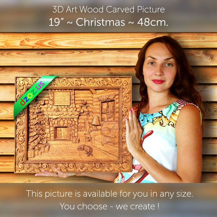 "19"" Christmas 48см Carved wood painting 3D picture panel icon orthodox art oil"