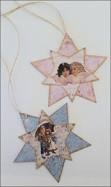 Vintage style Christmas tag ornaments ~ Karis krok: Pakkelapper