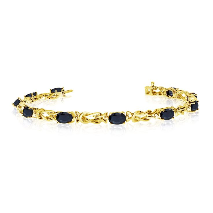 14K Yellow Gold Oval Sapphire Reef Knot Bracelet (8 Inch Length). Beautiful complimentary gift box included with this purchase. Setting made entirely with genuine solid 14 karat gold.