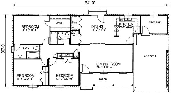 Ranch Style House Plans 1390 Square Foot Home 1 Story