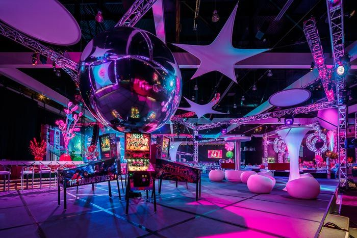 Vintage pinball games were fanned out in an arcade section of the party space. Photo: Sean Twomey/2me Studios