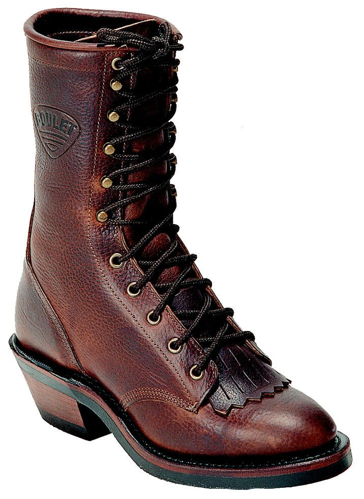 Lace Up Boots - Round Toe, Brown