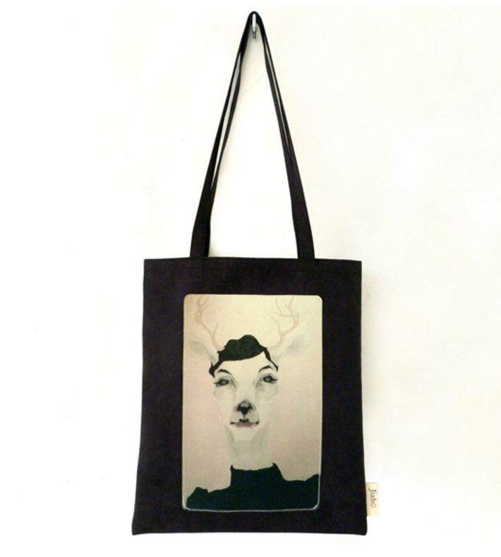 """Black Synthetic Leather Bag, with """"Camille"""" printed on Canvas. Hand Cut & Hand Made by Jiab in Berlin, Germany. Resistant, Cool, Artistic. Synthetic leather kind is Suede Imitation.  You can buy this tote bag at www.artrebels.com #artrebels #totebag #art"""