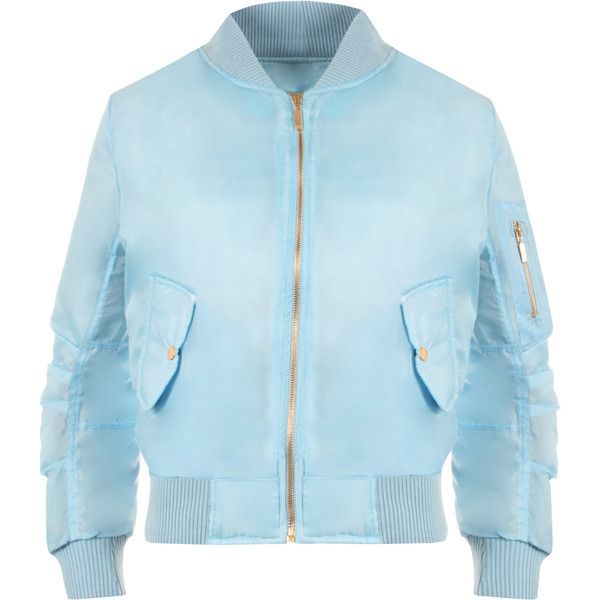 Lain Zip Bomber Jacket ($31) ❤ liked on Polyvore featuring outerwear, jackets, blue, faux bomber jacket, lined jacket, bomber jacket, button jacket and long jacket
