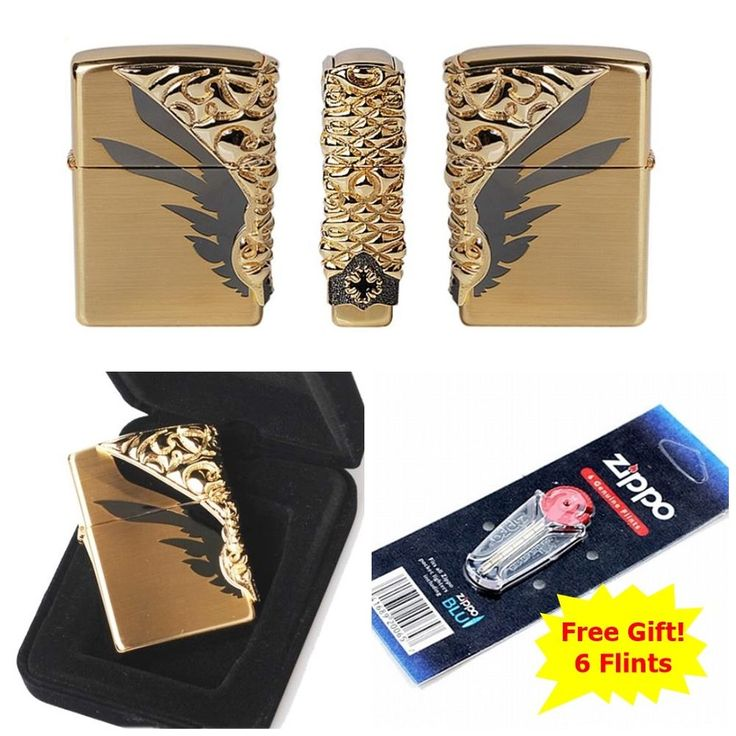 [Zippo] Shield GD Windproof Lighter Made in USA GENUINE + 6 Flints for free
