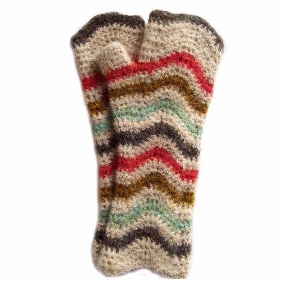 Chevron Crochet Gloves Pattern - in different colors and a sock yarn? Gorgeous!  Could make into mittens easily.  And, they are long to cover wrists.