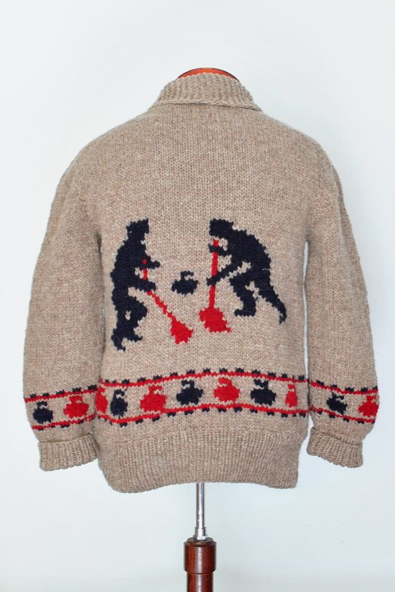 Bouquet Curling Sweater New hand knit wool cardigan, brand new, not vintage, Cowichan style Big Lebowski Cardigan Sweater on Etsy, $139.00