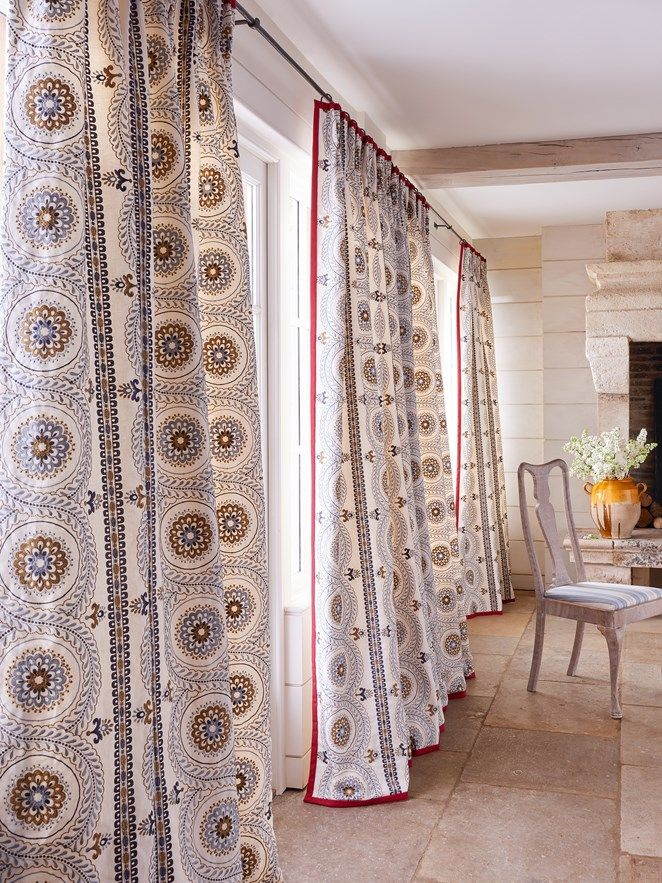 Holmewood fabric by Jane Churchill A wonderfully patterned embroidered stripe. The transitional feel of this Suzani inspired design would add a little drama to any interior.