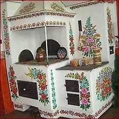 painted oven. Zalipie, south Poland. Entire village contains folk art like this