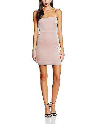 10, Brown (Mink), New Look Women's Velvet 90's Dress NEW
