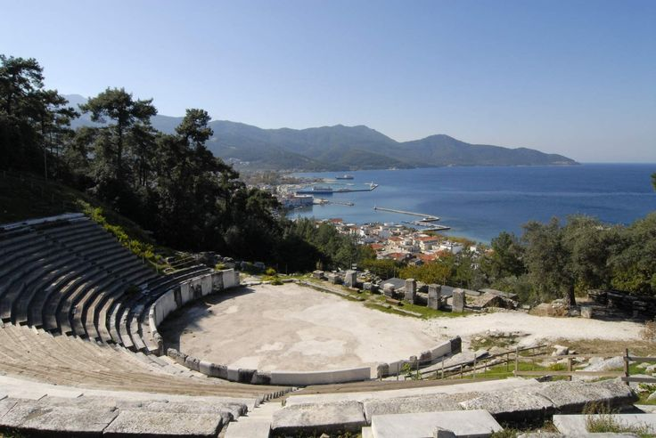 View of the sea from the ancient theater in Thassos island