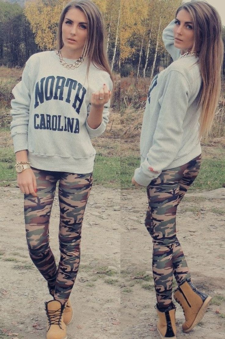Adorable Back-to-School Outfits for Teens ... →   Camo Cool - From the boots to the leggings, this is perfection.