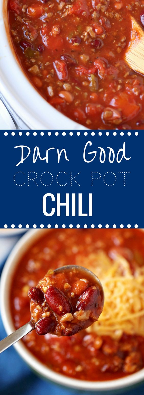 Everyone will LOVE this easy Darn Good Chili made in the Crock Pot. SO good!